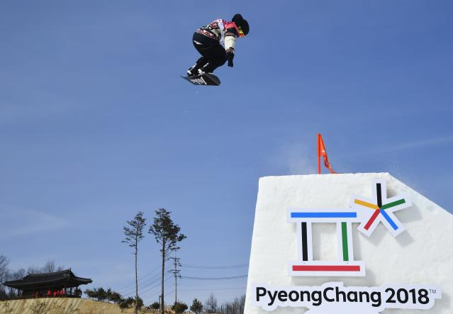 Snowboarding - Pyeongchang 2018 Winter Olympics - Men's Big Air Qualifications - Alpensia Ski Jumping Centre - Pyeongchang, South Korea - February 21, 2018 - Tyler Nicholson of Canada competes. REUTERS/Toby Melville