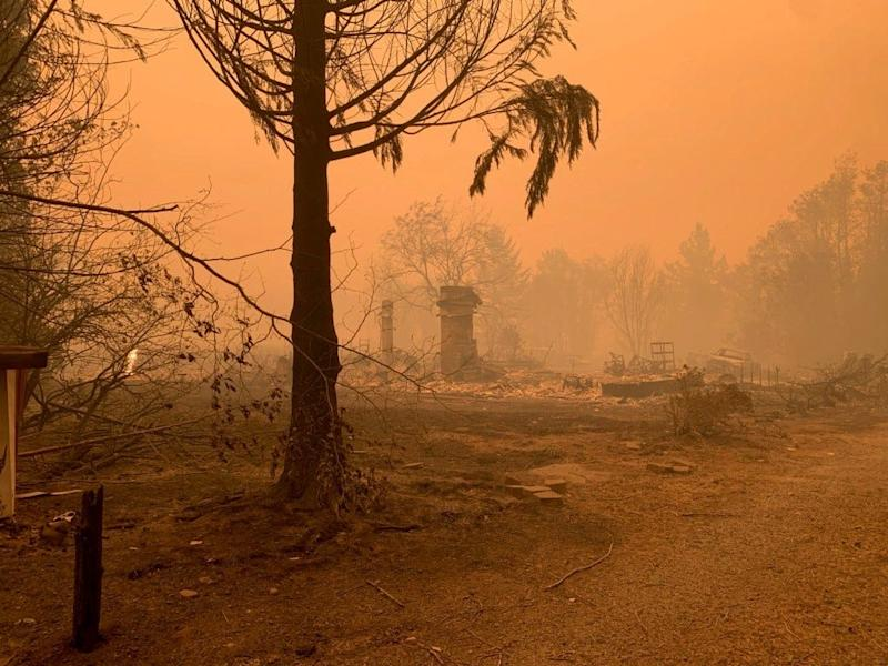 The Gates home of Dennis and Denise Schlies was destroyed by the wildfires.