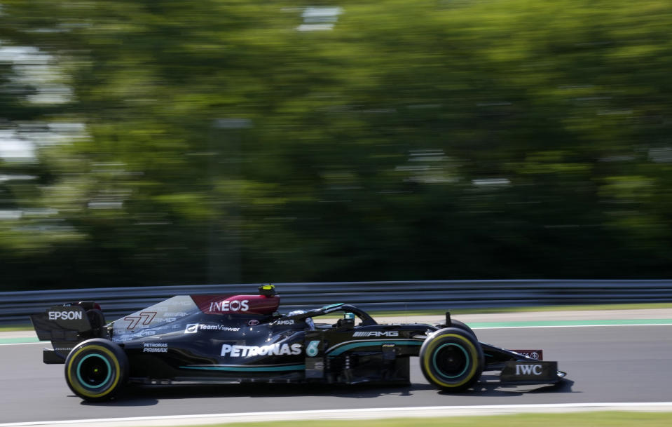 Mercedes driver Valtteri Bottas of Finland steers his car during the second free practice at the Hungaroring racetrack in Mogyorod, Hungary, Friday, July 30, 2021. The Hungarian Formula One Grand Prix will be held on Sunday. (AP Photo/Darko Bandic)