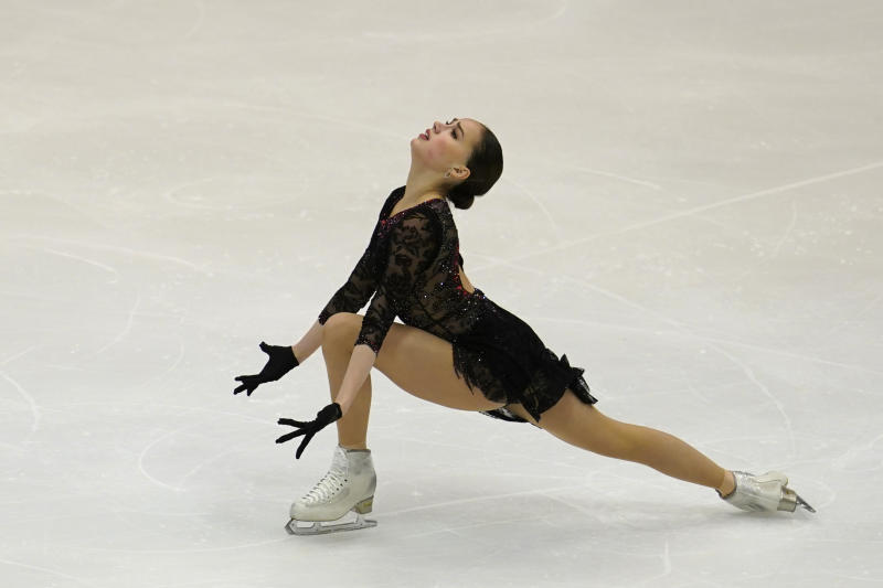 Alina Zagitova of Russia performs in the ladies short program during the ISU Grand Prix of Figure Skating in Sapporo, northern Japan, Friday, Nov. 22, 2019. (AP Photo/Toru Hanai)