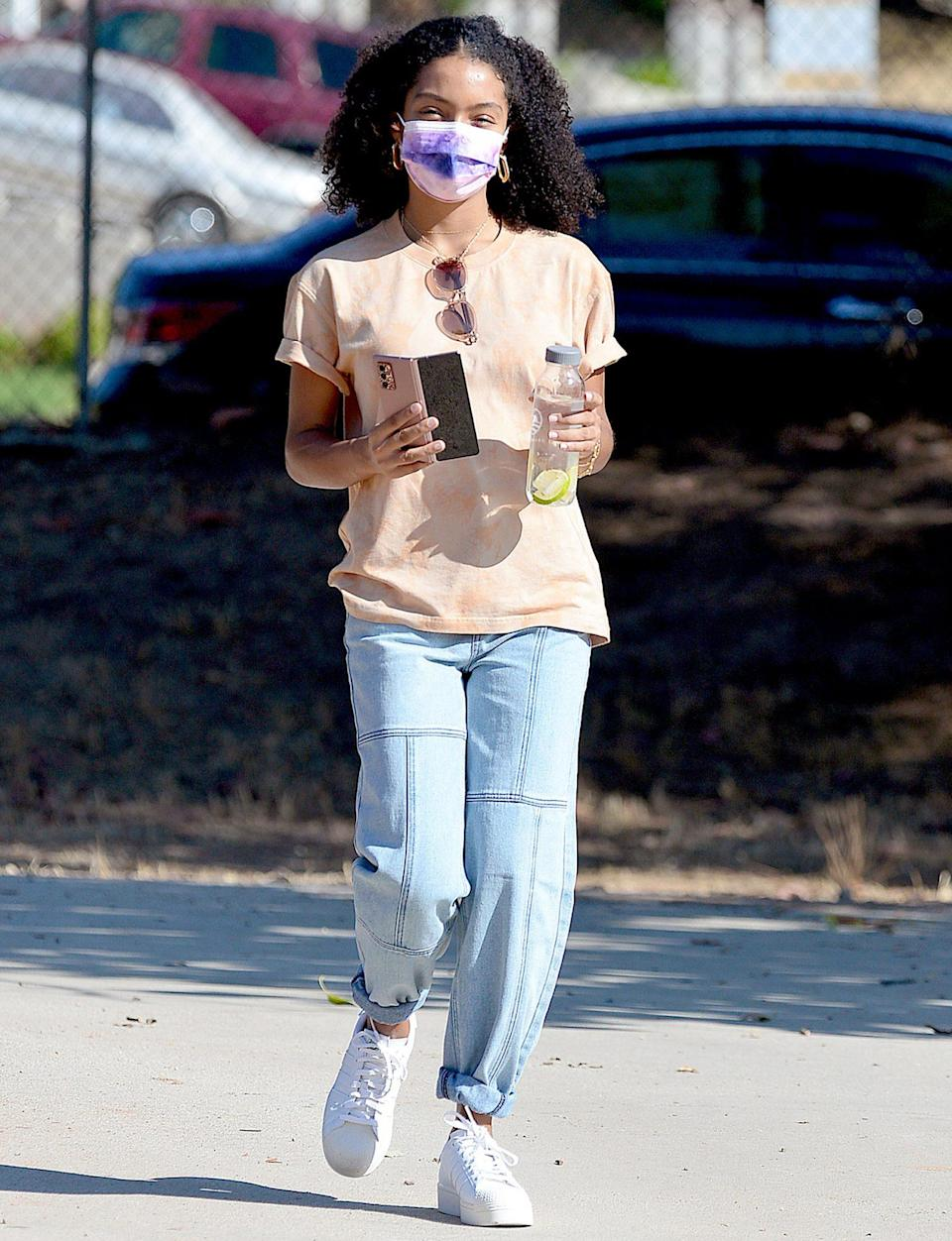 <p>Yara Shahidi steps out wearing a PacSun shirt and jeans while enjoying a day in the park on Monday in L.A. </p>