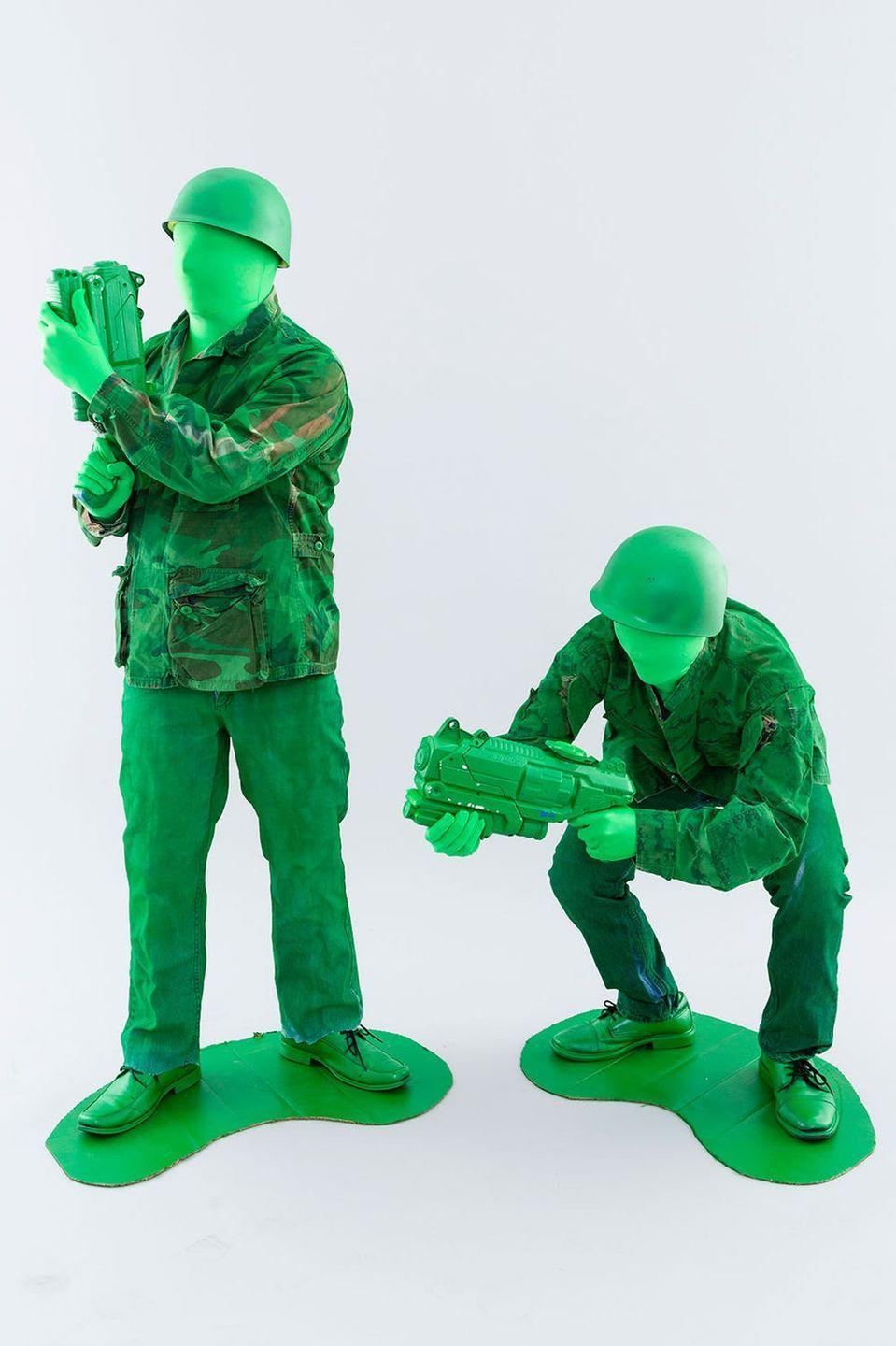 """<p>Green spray paint turns thrift store duds into the (army) squad goals. Leave no man behind! </p><p><em><a href=""""https://www.brit.co/gay-couple-halloween-costumes/"""" rel=""""nofollow noopener"""" target=""""_blank"""" data-ylk=""""slk:Get the tutorial at Brit + Co »"""" class=""""link rapid-noclick-resp"""">Get the tutorial at Brit + Co »</a></em> </p>"""
