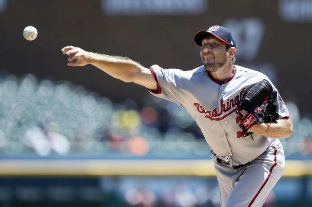 Washington Nationals' Max Scherzer pitches against the Detroit Tigers during the second inning of a baseball game Sunday, June 30, 2019, in Detroit. (AP Photo/Duane Burleson)