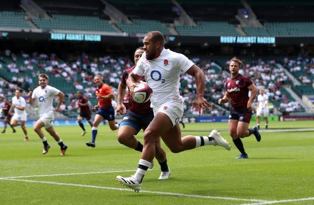 Ollie Lawrence scored a try for England before being forced off