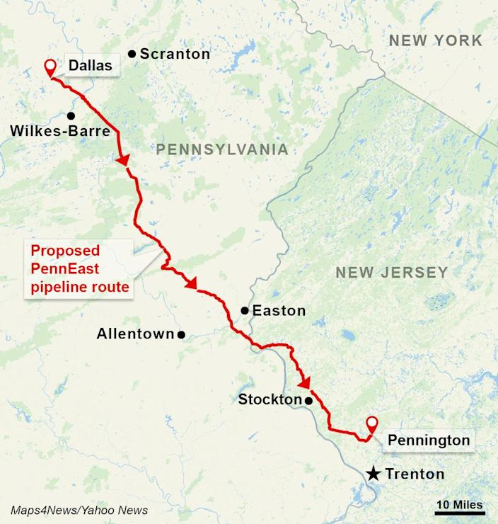 The proposed PennEast Pipeline route would travel from Dallas, Luzerne County, in northeastern Pennsylvania to Pennington, Mercer County, in central New Jersey. (Maps4News/Yahoo News)