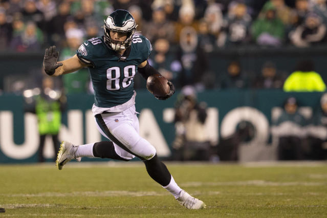 Philadelphia Eagles tight end Dallas Goedert was taken to a hospital briefly on Friday night after being punched at a restaurant, but is unharmed. (Mitchell Leff/Getty Images)