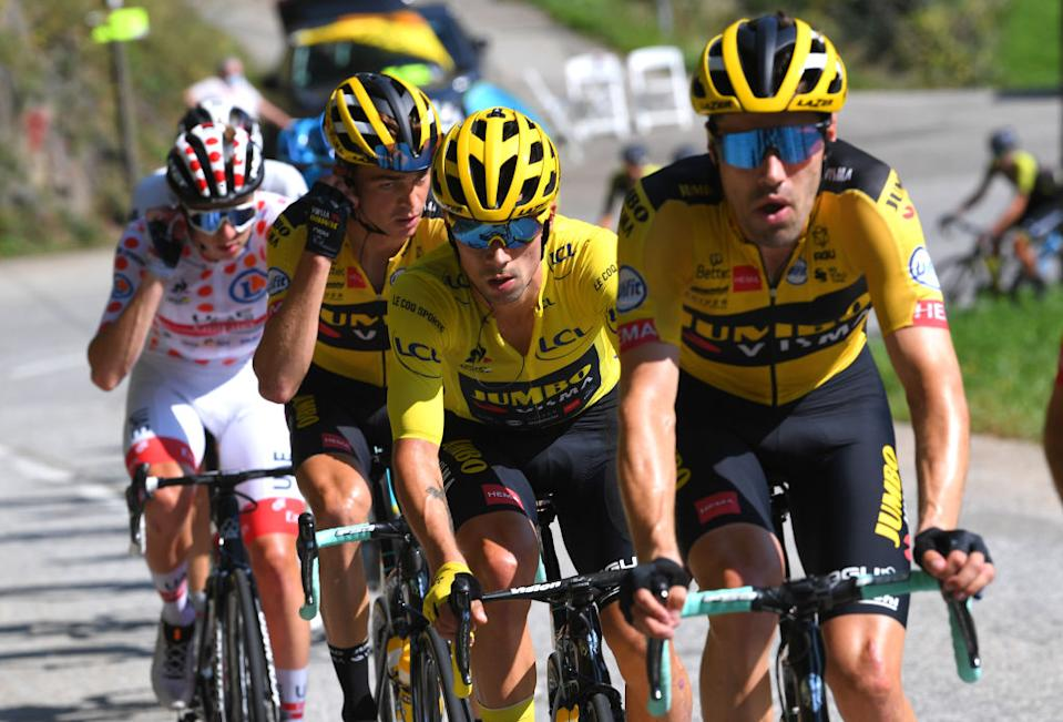LA ROCHESURFORON FRANCE  SEPTEMBER 17 Primoz Roglic of Slovenia and Team Jumbo  Visma Yellow Leader Jersey  during the 107th Tour de France 2020 Stage 18 a 175km stage from Mribel to La Roche sur Foron 543m  TDF2020  LeTour  on September 17 2020 in La RochesurForon France Photo by Tim de WaeleGetty Images