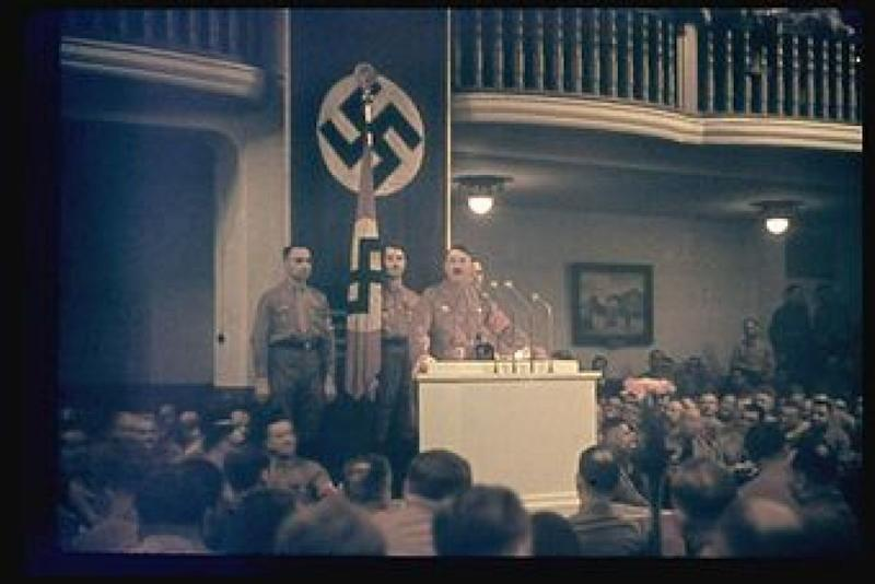 GERMANY - NOVEMBER 08: Hitler speaks at the Burgerbraukeller in Munich Germany November 8th or 9th, 1938 celebration in remembrance of the Putsch. (Photo by Hugo Jaeger/Time & Life Pictures/Getty Images)