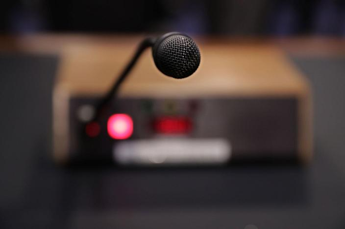<p>The microphone that former FBI Director James Comey will use while testifiying before the Senate Intelligence Committee in the Hart Senate Office Building on Capitol Hill June 8, 2017 in Washington. (Photo: Chip Somodevilla/Getty Images) </p>