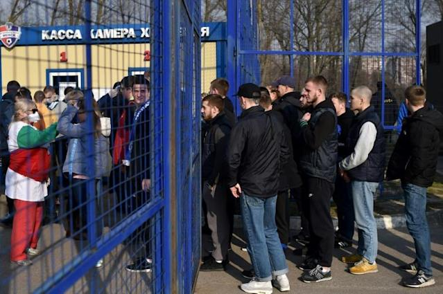 Fans were subjected to a medical control before the Minsk derby (AFP Photo/Sergei GAPON)