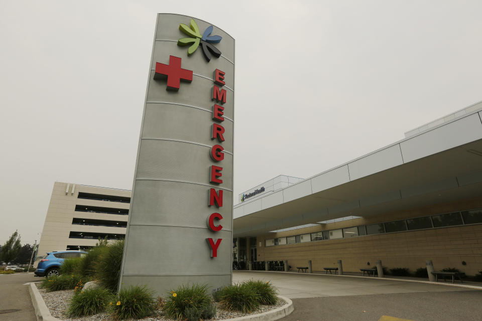 An emergency department sign is photographed at Kootenai Health, Friday, Sept. 10, 2021, in Coeur d'Alene, Idaho. Northern Idaho has a long and deep streak of antigovernment activism that is confounding attempts to battle a COVID-19 outbreak. (AP Photo/Young Kwak)
