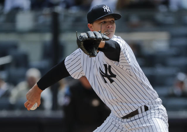 New York Yankees pitcher Sonny Gray delivers against the Baltimore Orioles during the first inning of a baseball game, Saturday, April 7, 2018, in New York. (AP Photo/Julie Jacobson)