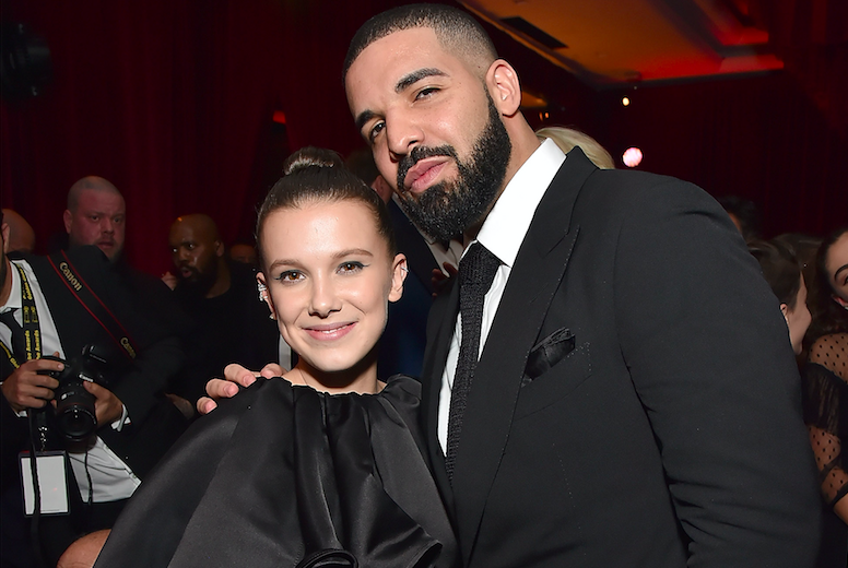 """Millie Bobby Brown says Drake, who she was pictured with at a Golden Globes party in January, texts her advice about """"boys."""" (Photo: Kevin Mazur/Getty Images for Netflix)"""
