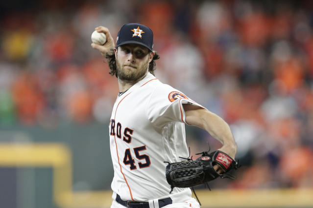 Astros starter Gerrit Cole will be the top free agent pitcher on the market this winter. (AP Photo/Michael Wyke)