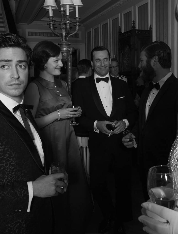 Michael Ginsberg (Ben Feldman), Joan Harris (Christina Hendricks), Don Draper (Jon Hamm) and Stan Rizzo (Jay R. Ferguson) - Mad Men - Season