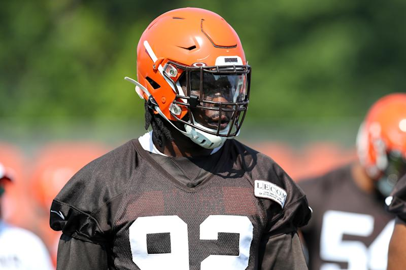 Browns DE Chad Thomas was stretchered off the field on Monday after taking a hit to the shoulder, though returned to the training facility from the hospital just hours later.