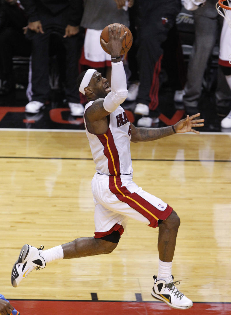 Miami Heat small forward LeBron James (6) shoots against the Oklahoma City Thunder during the first half at  Game 5 of the NBA finals basketball series, Thursday, June 21, 2012, in Miami. (AP Photo/Wilfredo Lee)