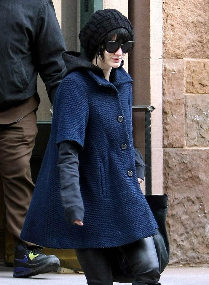 """Now playing atop Broadway beauty Ashlee Simpson-Wentz's head: an ebony accessory that matches the shade of her hair so closely it almost disappears. Saleem Elatab-Ahmad Elatab/<a href=""""http://www.splashnewsonline.com"""" target=""""new"""">Splash News</a> - January 2, 2010"""