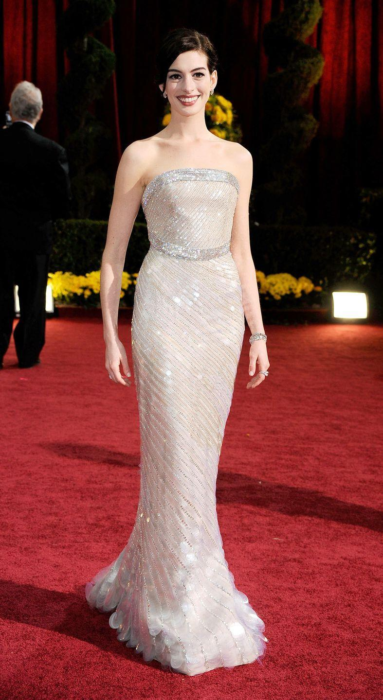 <p>Anne Hathaway was statuesque in an opal pailette covered Armani Privé gown at the 2009 ceremony when she was nominated for <em>Rachel Getting Married. </em></p>
