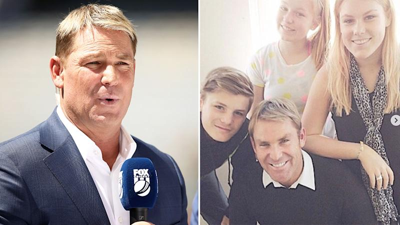 Pictured here, Shane Warne and his three children.