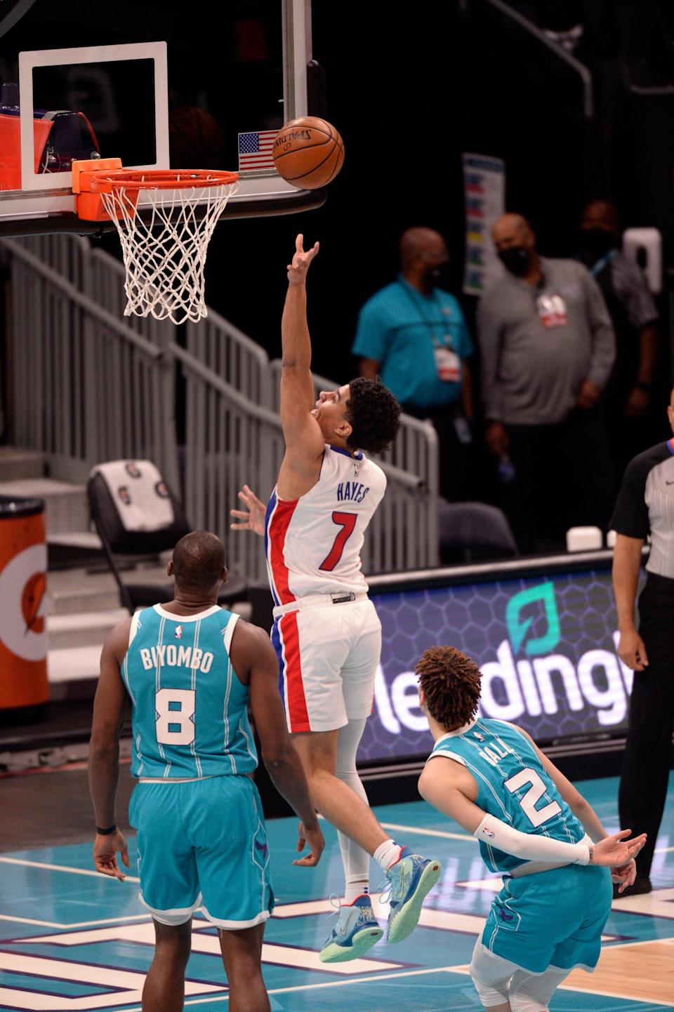 Detroit Pistons guard Killian Hayes drives to the basket during the second half against the Charlotte Hornets at the Spectrum Center, May 1, 2021 in Charlotte.