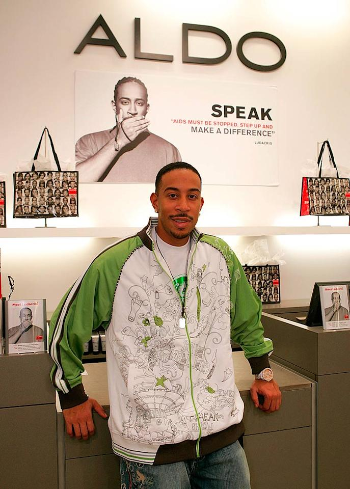 "Rapper Ludacris promotes World AIDS Day at the Aldo store in Beverly Hills. World AIDS Day has been observed on December 1 of every year since 1988. Chris Weeks/<a href=""http://www.wireimage.com"" target=""new"">WireImage.com</a> - November 28, 2006"