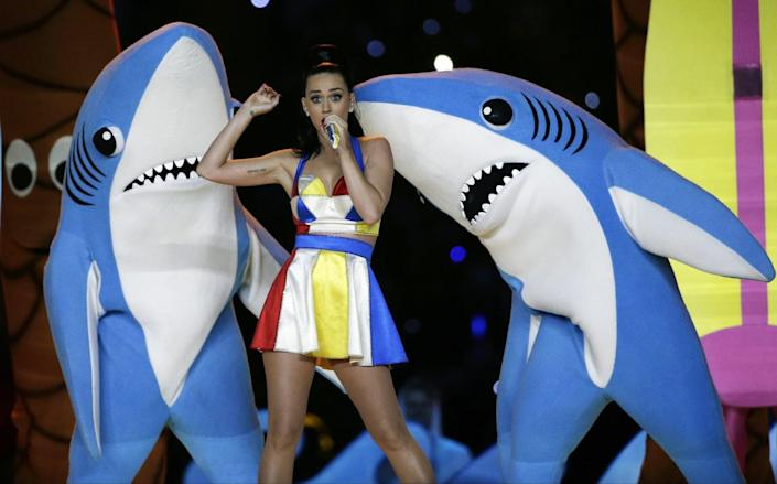 Katy Perry performs during halftime of the NFL Super Bowl XLIX football game in Glendale, Ariz.