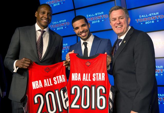 Toronto Raptors general manager Masai Uriji, left, Canadian recording artist Drake, center, and Maple Leaf Sports and Entertainment President and CEO Tim Leiweke pose with jerseys after the announcement that the Raptors will host the 2016 NBA All Star game at a news conference in Toronto on Monday Sept. 30, 2013. (AP Photo/The Canadian Press, Frank Gunn)