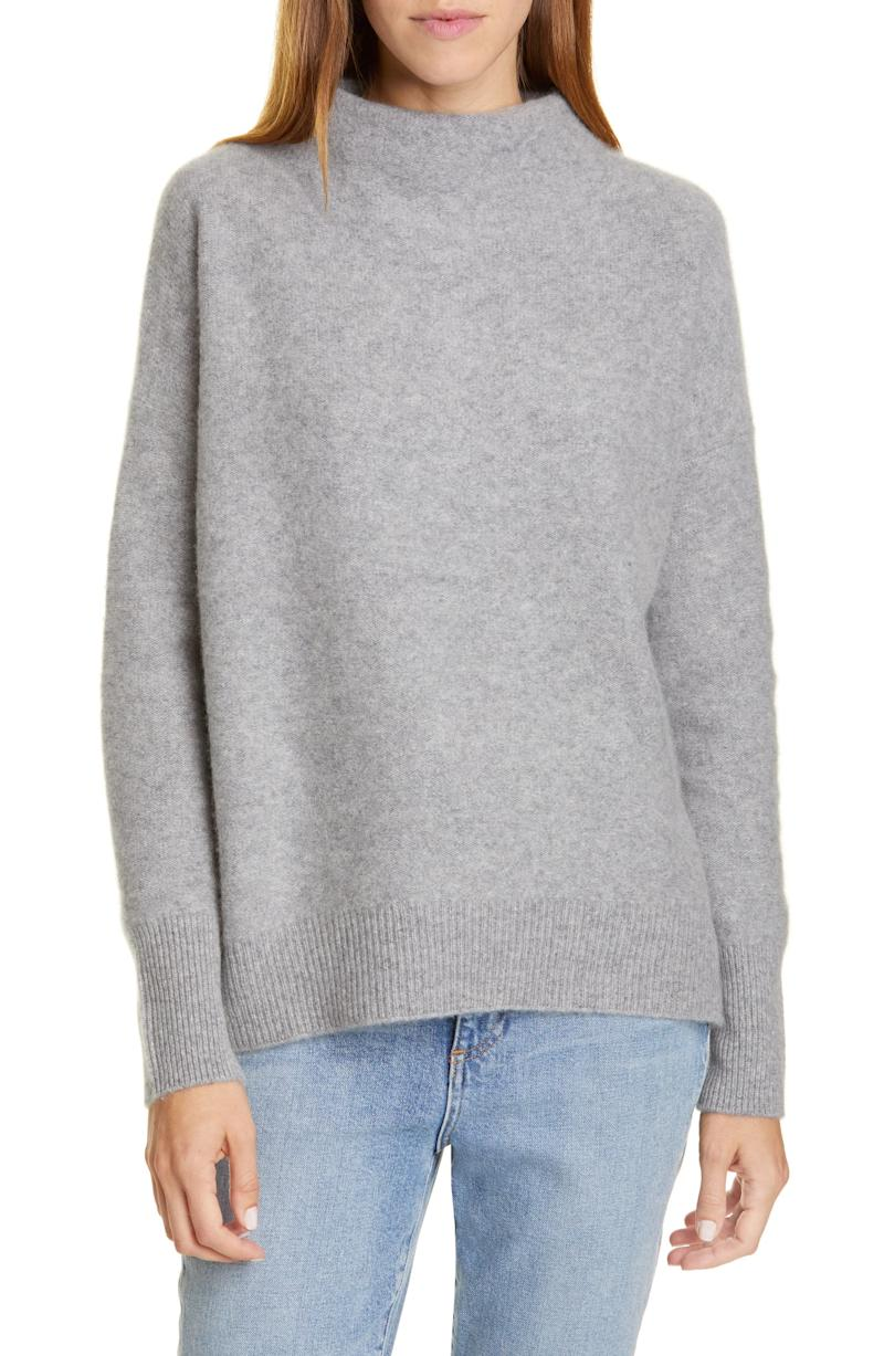 Vince Boiled Cashmere Funnel Neck Pullover in heather grey