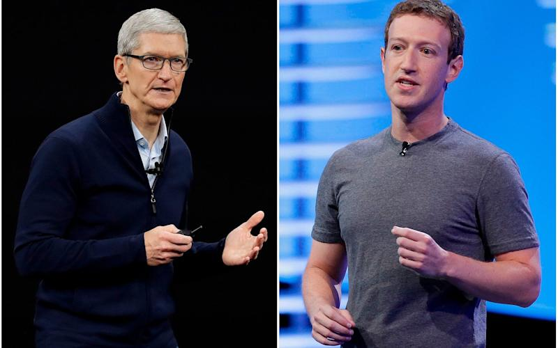 In this combo of file photos, Apple CEO Tim Cook speaks on the new Apple campus on Sept. 12, 2017, in Cupertino, Calif., left, and Facebook CEO Mark Zuckerberg speaks at the F8 Facebook Developer Conference on April 12, 2016, in San Francisco, right - Eric Risberg /AP