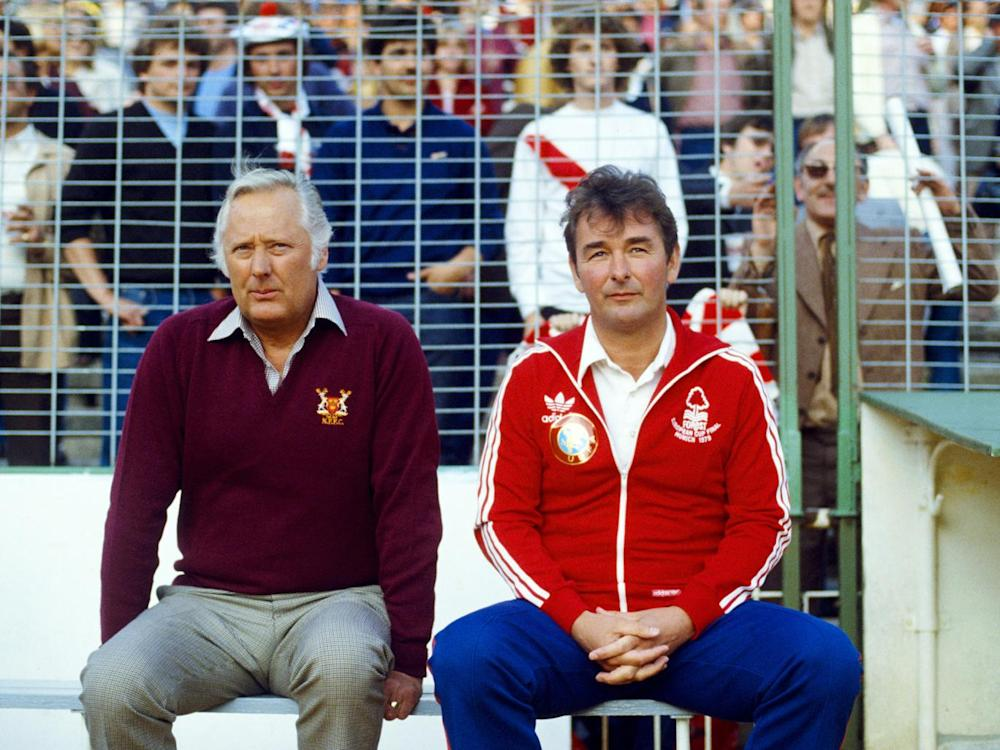 Brian Clough and Peter Taylor on the touchline in the 1980 European Cup final (Getty)