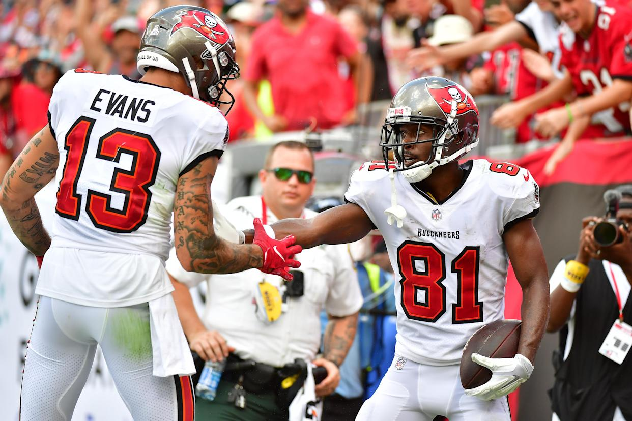 Antonio Brown #81 and Mike Evans #13 of the Tampa Bay Buccaneers