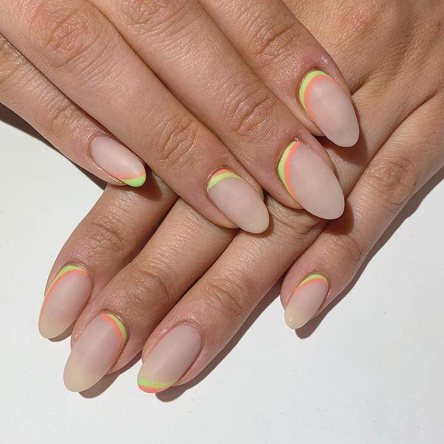 """<p>If you've got a steady hand (or a really good nail technician) add a strip of colour to the base of your nail.</p><p><a href=""""https://www.instagram.com/p/ByrFMhKAGY8/"""" rel=""""nofollow noopener"""" target=""""_blank"""" data-ylk=""""slk:See the original post on Instagram"""" class=""""link rapid-noclick-resp"""">See the original post on Instagram</a></p>"""