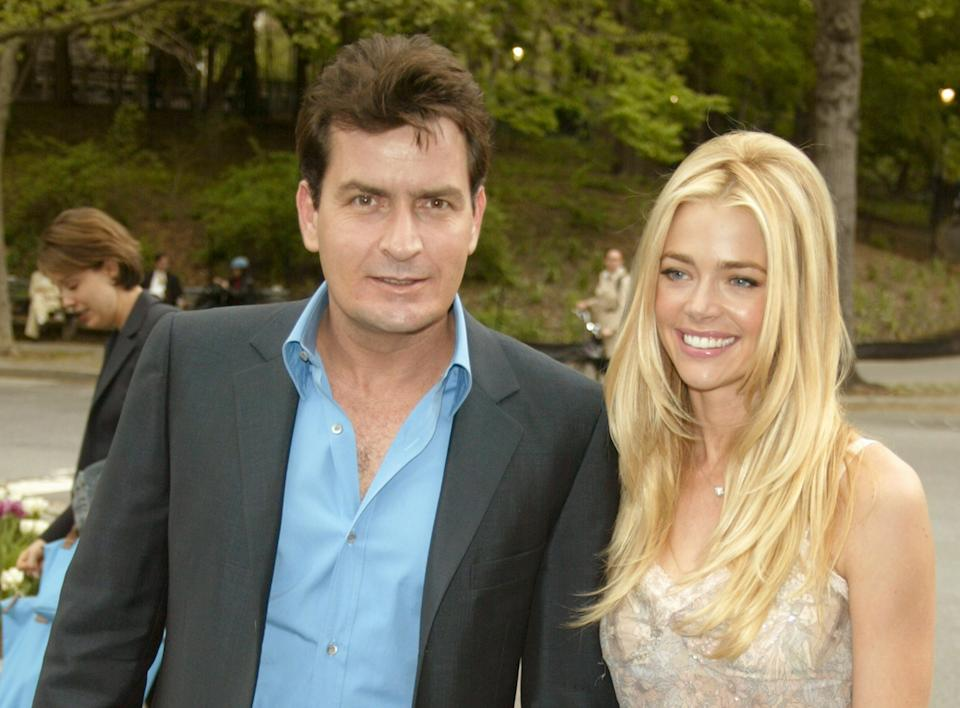 Charlie Sheen and Denise Richards during 2003-2004 CBS Upfront - After Party at Tavern on the Green in New York City, New York, United States. (Photo by Jim Spellman/WireImage)