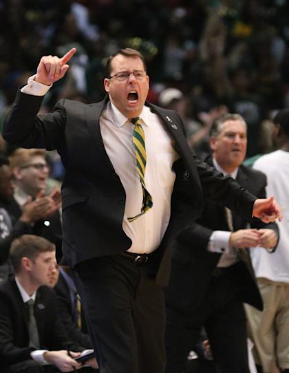 Jerod Haase reacts to a call during the Conference USA tournament. (USAT)