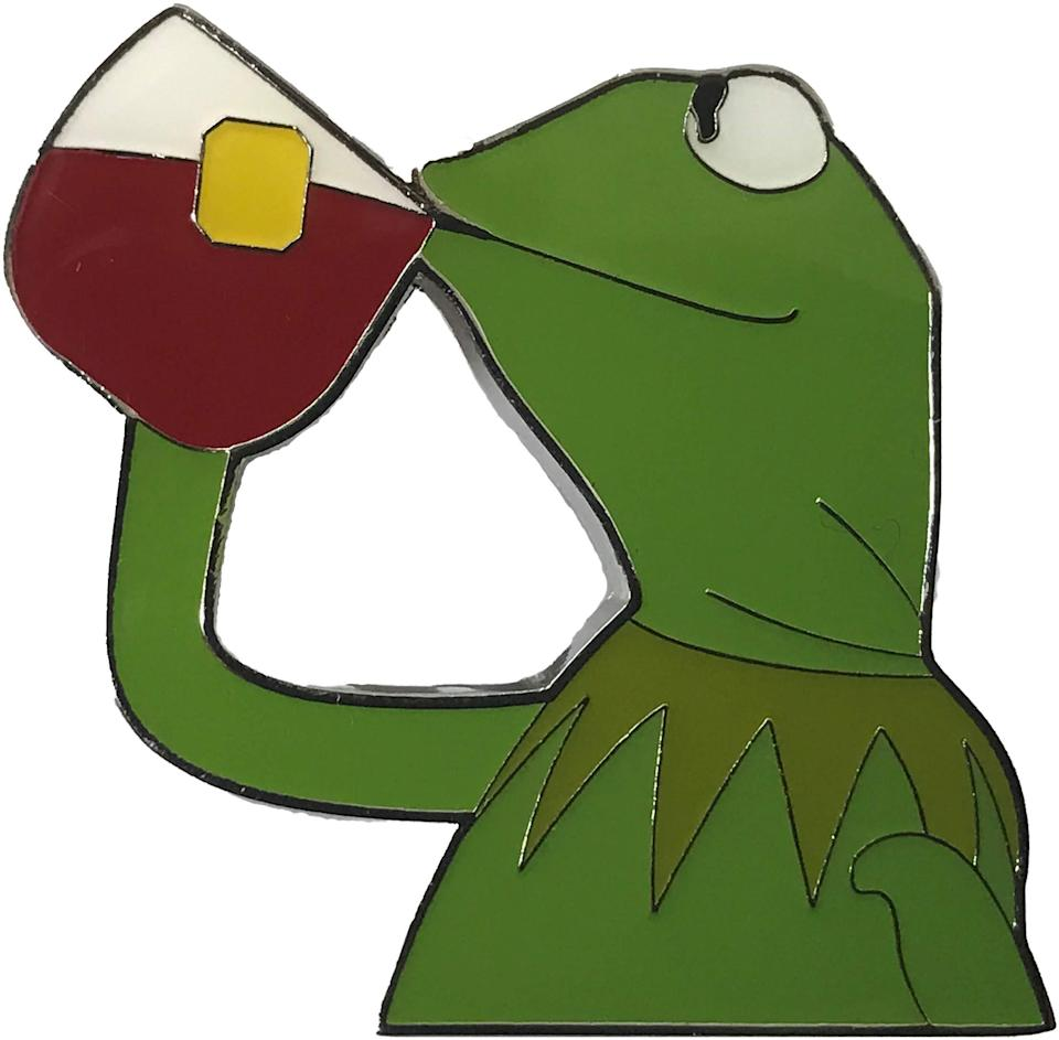 """<h3>Balanced Co. Kermit None Of My Business Sipping Tea Pin</h3><br>This one speaks for itself. *Sips tea*<br><br><strong>Balanced Co.</strong> Kermit None of My Business Enamel Pin, $, available at <a href=""""https://amzn.to/36vyUKt"""" rel=""""nofollow noopener"""" target=""""_blank"""" data-ylk=""""slk:Amazon"""" class=""""link rapid-noclick-resp"""">Amazon</a>"""