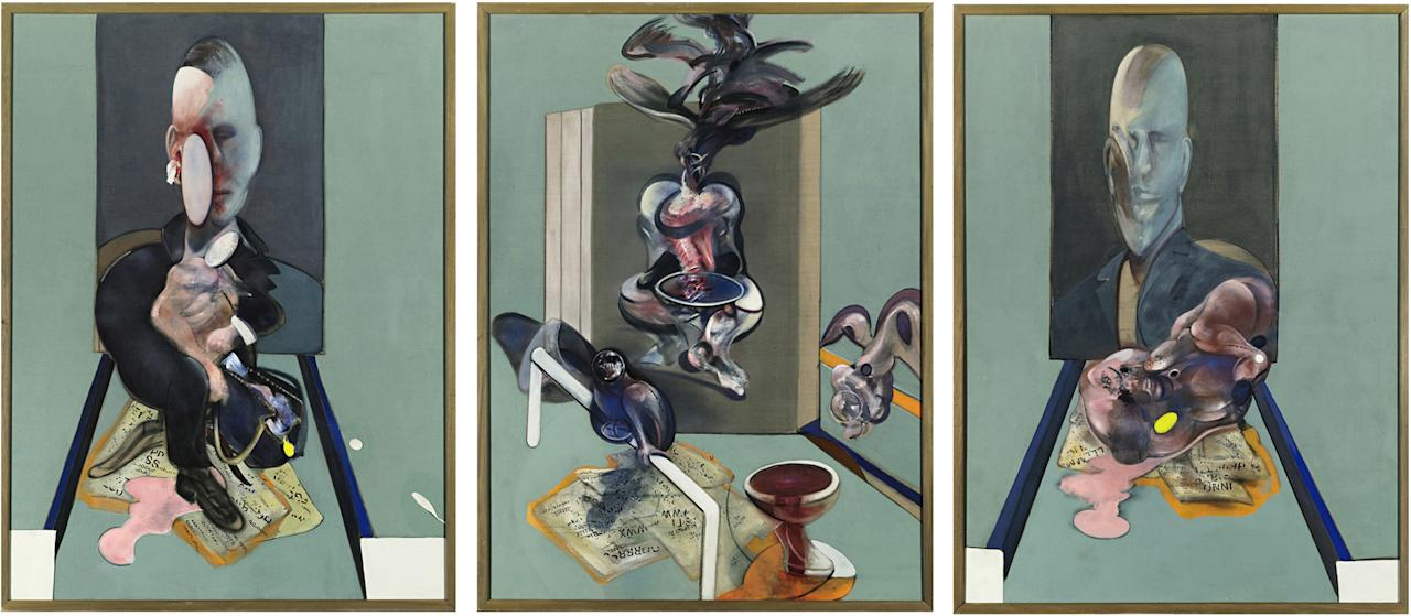 "WLDFILE - This undated file photo provided by Sotheby's shows the three panels of Francis Bacon's ""Triptych, 1976."" The painting, which sold in May 2008 for $86,281,000 is one of eight works that have sold for $80 million or more at auction. When Edvard Munch's ""The Scream,"" is auctioned at Sotheby's in New York Wednesday May 2, 2012, it could sell for $80 million or more. (AP Photo/Sotheby's, File)"