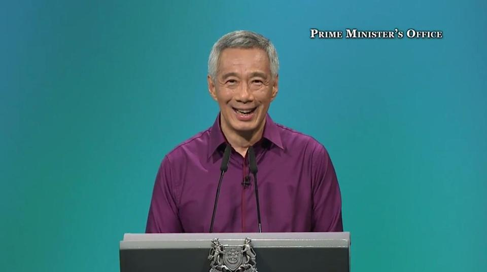 Singapore Prime Minister Lee Hsien Loong speaking at the National Day Rally on 20 August 2017. Photo: Prime Minister's Office/YouTube