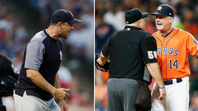 There were contrasting results for the New York Yankees and Houston Astros after their managers were ejected in MLB action on Friday.