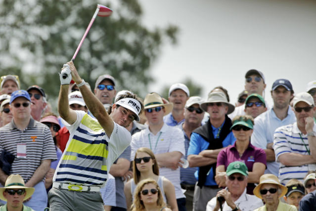 Bubba Watson tees off on the eighth hole during the second round of the Masters golf tournament Friday, April 11, 2014, in Augusta, Ga. (AP Photo/David J. Phillip)