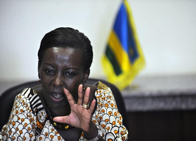 Rwandan Minister of Foreign Affairs Louise Mushikiwabo speaks at a press briefing in the Kenyan capital Nairobi on March 26, 2011