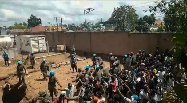 PHOTO: This frame grab taken from video footage shows crowds as they confront United Nations peackeepers on the outskirts of the eastern town of Beni, Democratic Republic of Congo, Nov. 25, 2019. (Ushindi Mwendapeke Eliezaire/AFP via Getty Images)