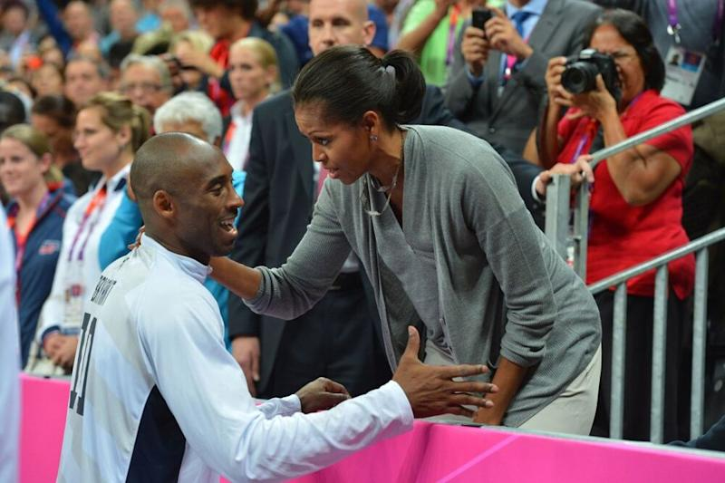 From left: Kobe Bryant talks with former First Lady Michelle Obama during the 2012 Summer Olympics   Jesse D. Garrabrant/NBAE via Getty Images