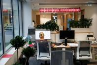 An employee works at the Magyar Telekom HQ during the outbreak of the coronavirus disease (COVID-19), in Budapest