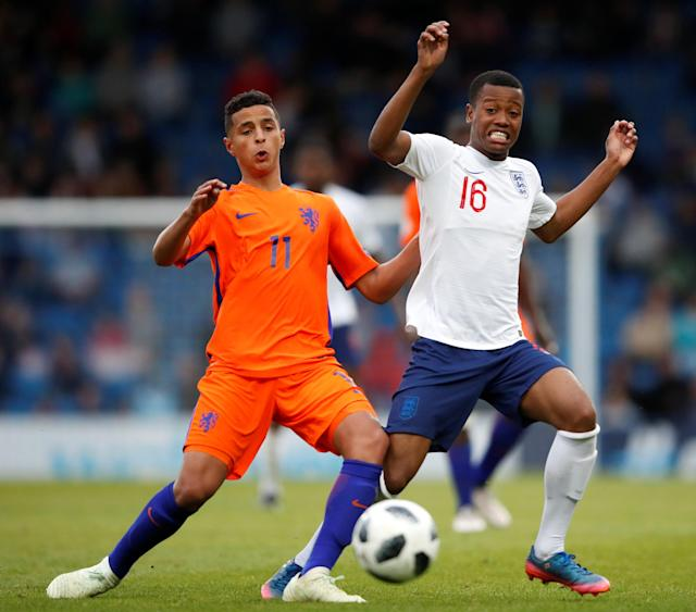 Soccer Football - UEFA European Under-17 Championship Semi-Final - England vs Netherlands - Proact Stadium, Chesterfield, Britain - May 17, 2018 England's Rayhaan Tulloch in action with Netherlands' Mohammed Ihattaren Action Images via Reuters/Carl Recine