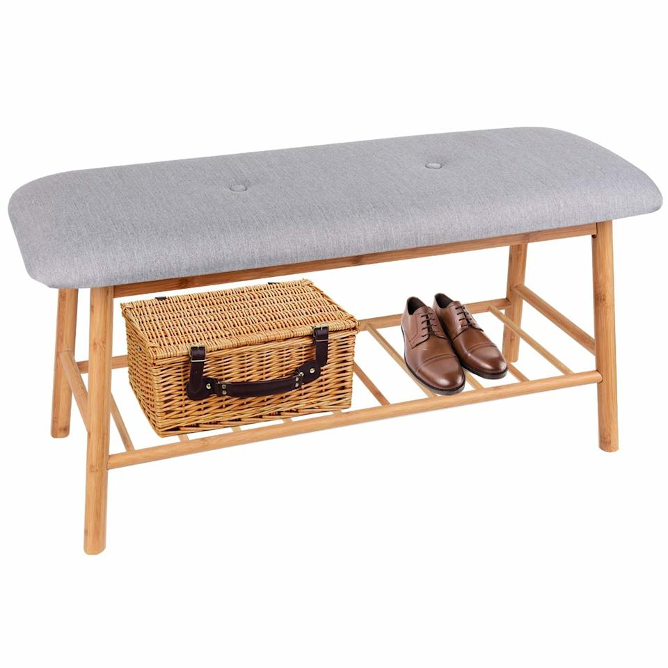 """<p>Small enough to fit in a tiny foyer? Check! (It's 36-by-13 inches.) Space for shoe storage? Check! A comfy cushion? Check! Affordable? Check! (It's just $50.) This small entryway bench checks all the boxes. </p> <p><strong>To buy: </strong>$50, <a href=""""https://www.amazon.com/Bamboo-Upholstered-Shoe-Bench-Seat/dp/B07FY9DN3G/ref=as_li_ss_tl?ie=UTF8&linkCode=ll1&tag=rshomesmallentrywaydecorideaskholdefehrnov19-20&linkId=3ee3fb85bb5471bad789c77cb43d7dd2&language=en_US"""" target=""""_blank"""">amazon.com</a>. </p>"""
