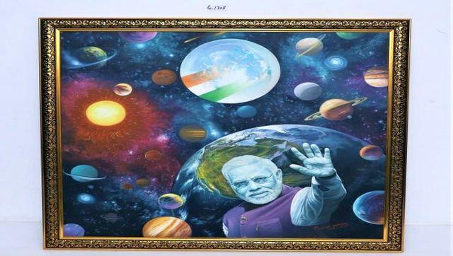 This painting, which was presented to Narendra Modi by Mohsin Shaikh, shows the galaxy with a portrait of the prime minister. The gift, which has a base price of Rs 5 lakh, represents the power and persona of Modi. Image Courtesy: pmmementos.gov.in
