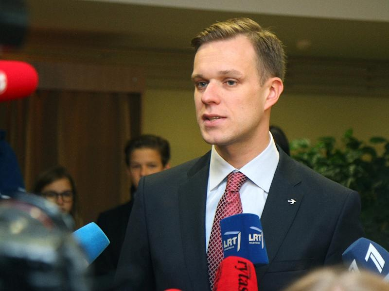 Chairman of the Homeland Union, Gabrielius Landsbergis, pictured in Vilnius, Lithuania on October, 9, 2016 (AFP Photo/Petras Malukas)
