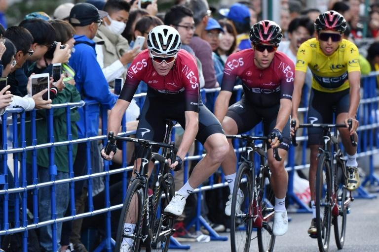 Egan Bernal of Colombia (3rd L) was buoyed by what he saw from his team-mate Chris Froome of Britain (L) in Saitama (AFP Photo/Kazuhiro NOGI)