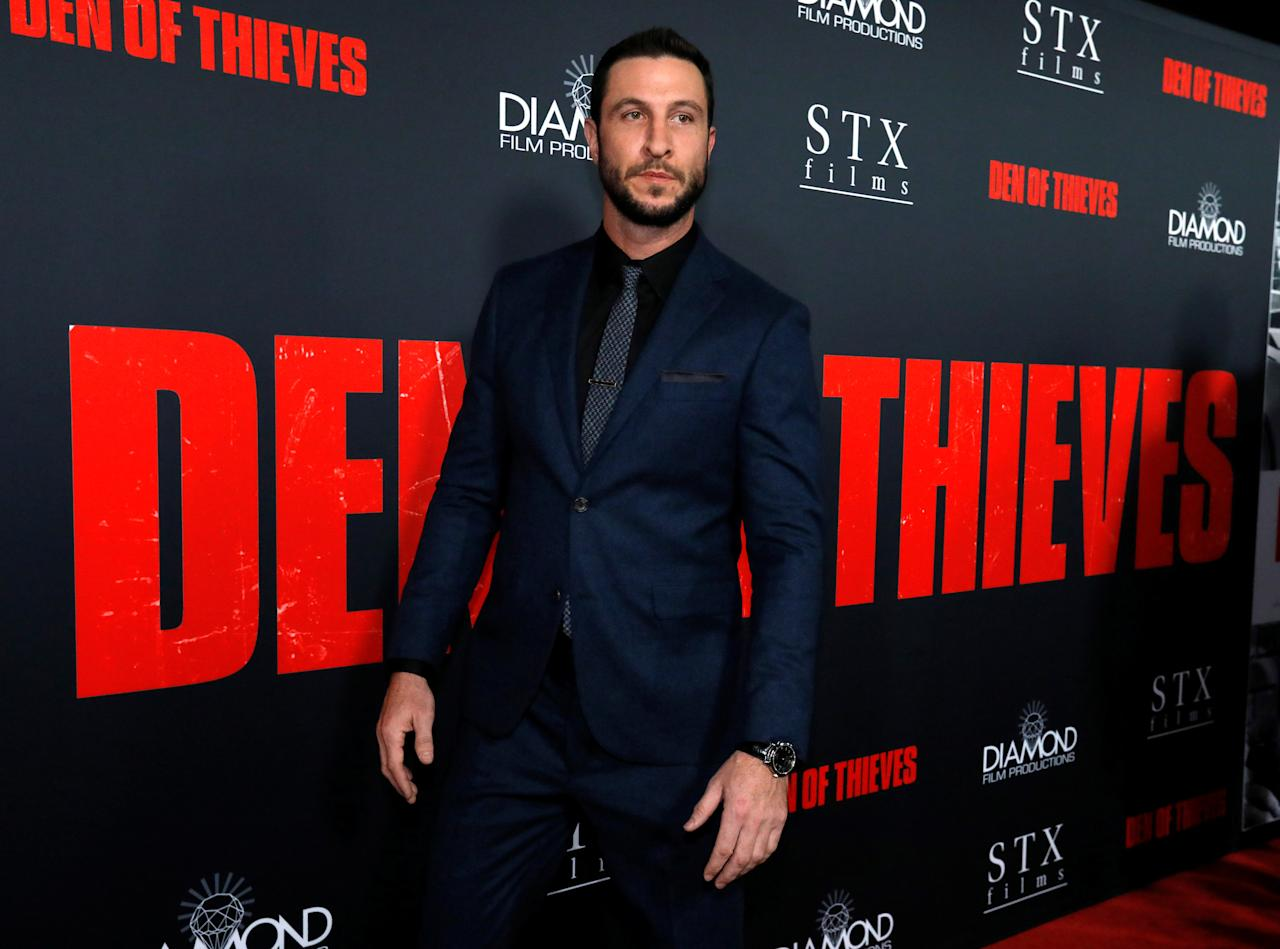 "Cast member Pablo Schreiber poses at the premiere for ""Den of Thieves"" in Los Angeles, California, U.S., January 17, 2018. REUTERS/Mario Anzuoni"